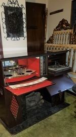 Mid Century Fake FireplaceDrop Down Bar