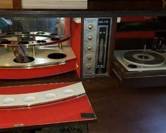 Mid Century Fake FireplaceRadio  Record player