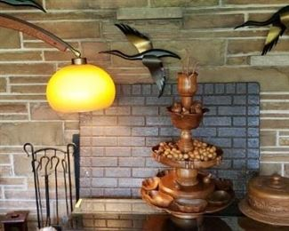 Mid Century Marble base Curved Wood Arm Floor Lamp