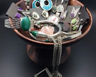 Sterling silver jewelry with and without semi-precious stones, 50% off