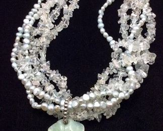 Statement necklace with rock crystal, freshwater pearls and natural stone pendant, 50% off
