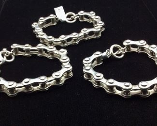 Sterling silver bicycle chain link style bracelets, 50% off