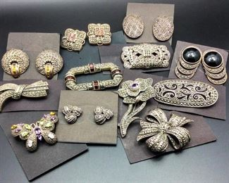 Beautiful sterling silver and marcasite jewelry including some Judith Jack pieces, 50% off