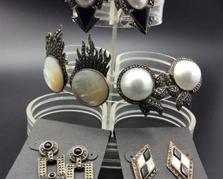 Beautiful sterling silver and marcasite earrings including some Judith Jack pieces, 50% off