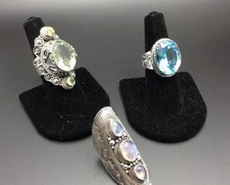 Wonderful sterling silver statement rings with prasiolite / peridot, blue topaz and moonstone, 50% off