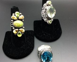 Sterling silver statement rings with turquoise / citrine / peridot, prasiolite / peridot, blue topaz, 50% off