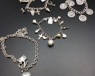Sterling silver vintage charm bracelets and charm necklace, 50% off
