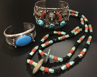 Necklace has SOLD - sterling silver Native American bear themed cuff bracelet with turquoise and coral and natural stone cuff bracelet, 50% off