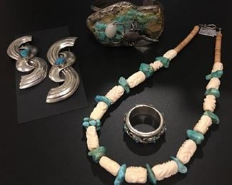 Unique vintage Native American jewelry including pair of barrettes with turquoise accents, scorpion statement bracelet, spinner skull ring, turquoise nugget necklace, all 50% off