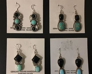 Native American sterling silver earrings with genuine turquoise and onyx, 50% off