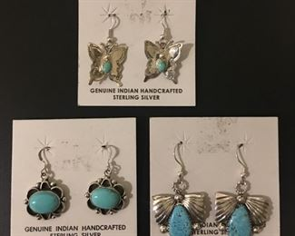 Native American sterling silver earrings with genuine turquoise, 50% off