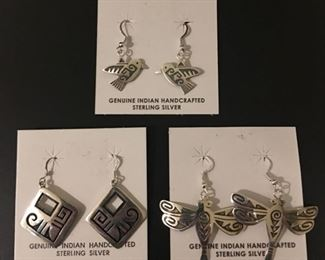 Native American Hopi sterling silver earrings including hummingbirds and dragonflies, 50% off