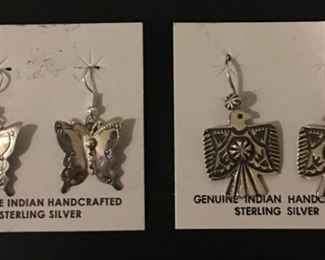 Native American sterling silver earrings including butterflies and thunderbirds, 50% off