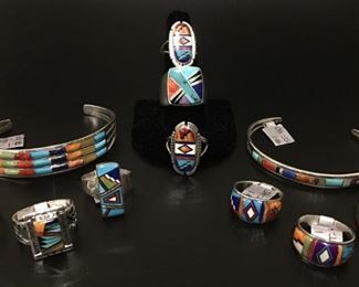 Native American sterling silver jewelry with genuine stone inlay, 50% off
