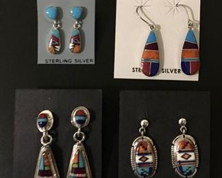 Native American sterling silver earrings with genuine stone inlay, 50% off