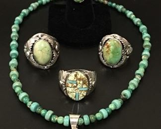 Native American sterling silver jewelry with genuine turquoise, 50% off