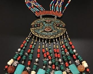 Tibet statement necklace with genuine stones, 50% off