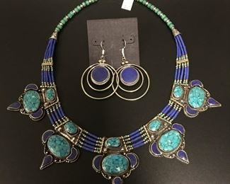 Tibet statement jewelry in silver with a little brass mixed in to retard tarnishing and genuine stones, 50% off