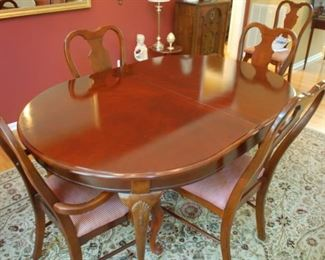 "Gorgeous dining room table, two leaves, 6 chairs, cover, Chippendale style 41"" W x 30.5"" H x 72"" L"
