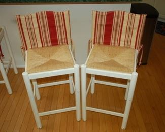 Weaved seat, tall bar stools, set of four