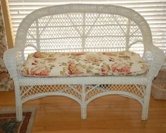 "Wicker love seat, 54"" W"