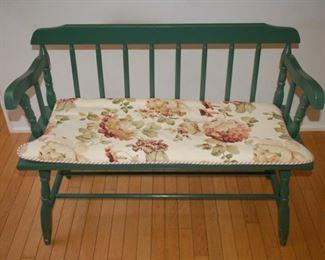 "Vintage wood love seat, 38.5"" W x 16"" D x 30"" H"