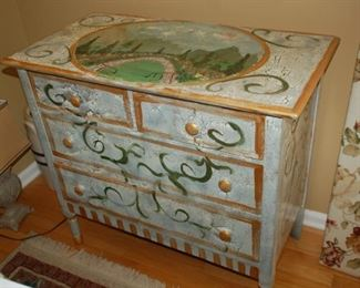 "Vintage painted wood dresser, 4 drawer; 36"" W x 18.5"" D x 33"" H"