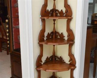 Antique / Vintage Wood Corner Display Shelf