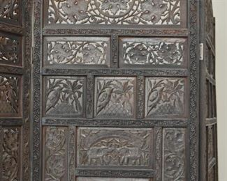 Wood Carved 3-Panel Folding Room Screen