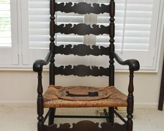 Antique Rocking Chair / Rocker with Rush Seat