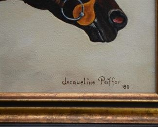 Framed Horse Racing Painting, Signed and Dated
