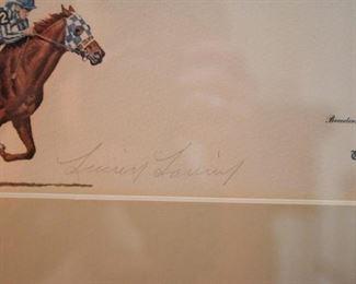 Framed Horse Racing Print (Secretariat), Signed & Numbered
