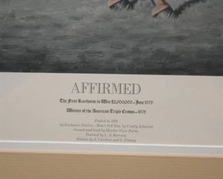 Framed Horse Racing Print (Affirmed), Signed and Numbered