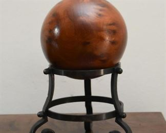 Wood Carved Ball / Orb with Stand