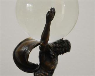 Crystal Ball / Orb with Atlas Display Stand