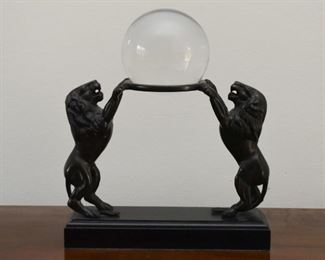 Crystal Ball / Orb with Lions Display Stand
