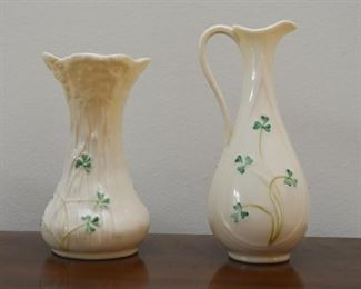 Belleek Shamrock Vase & Pitcher