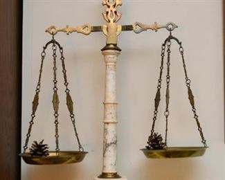 Vintage Brass & Marble Justice Scale / Scales of Justice