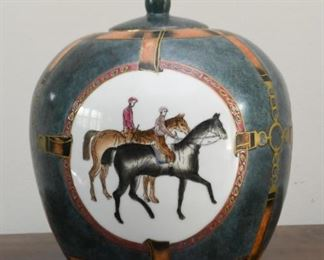 Chinese Porcelain Jar with Horses