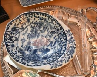 Blue & White Bowl (Blue Willow), Silver Plate Serving Platter