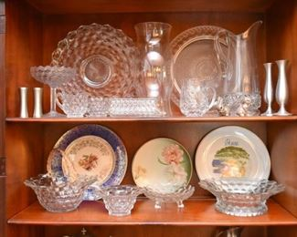 Vintage Glassware & Crystal, Hand Painted China Plates