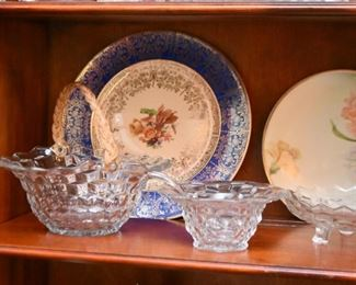 Vintage Glassware Serving Pieces, Hand Painted China Plates