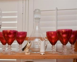 Ruby Glass Stemware, Decanter, Owl Figurine