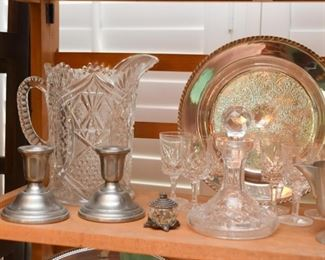 Glassware, Silver Plate, Pewter Candlesticks