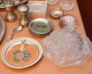 Lusterware Plate, Pressed Glass Cheese Dome, Salt & Pepper, Coasters, Etc.