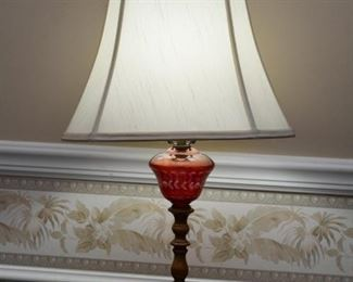 Vintage Table Lamp with Red Etched Glass