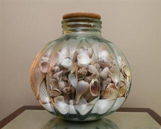Large Glass Jar of Seashells