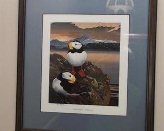 Framed Puffins Print, Signed