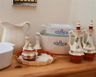 Corningware Baking Dishes, Vintage China Accessories, White Pottery Pitcher