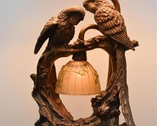 Metal Table Lamps with Parrots